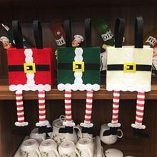 32x15x6.5cm Christmas Santa Claus Cloth Long Leg Candy Gift Bags Pouch Present Bag Christmas Decoration Xmas Candy Bag