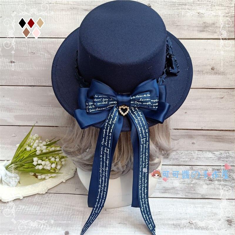 Тканевый головной убор в стиле Лолиты; Милый искусственный шерстяной берет на плоской подошве с бантом; Украшение в английском стиле