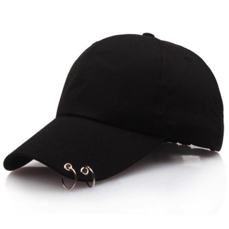 baseball cap with 2 hand made rings long visor snapback hat adjustable cotton fashion casual caps