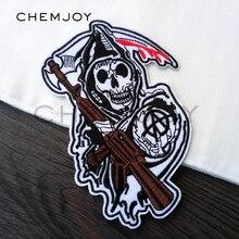 Накладки для одежды с вышитыми черепами Сыны Анархии, с железной аппликацией для курток рок-панк, заплатки на рюкзак наклейка на одежду