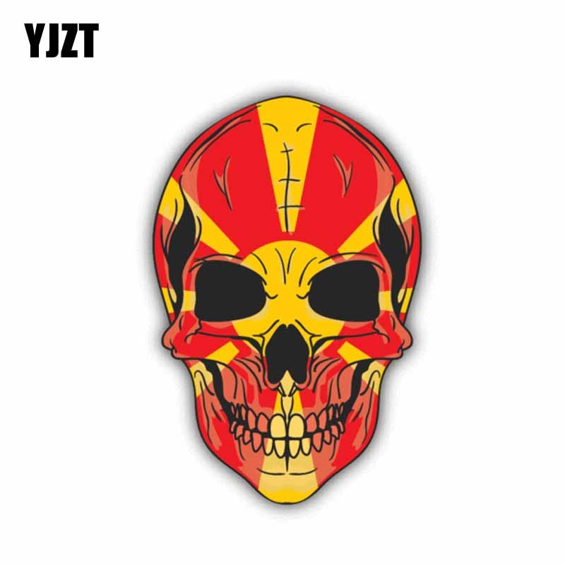 YJZT 9.5CM*14.4CM Car Styling Macedonia Flag Window Skull Car Sticker Decal 6-1430