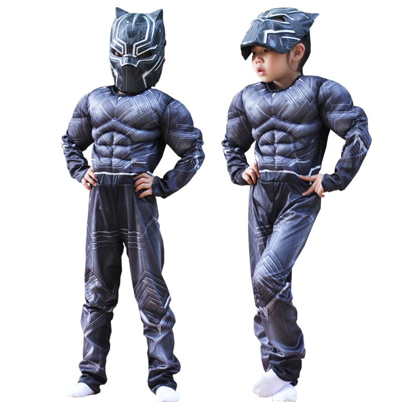 Kids Black Panther Muscle Costume Cosplay Halloween Party Fancy Dress Jumpsuit Boy