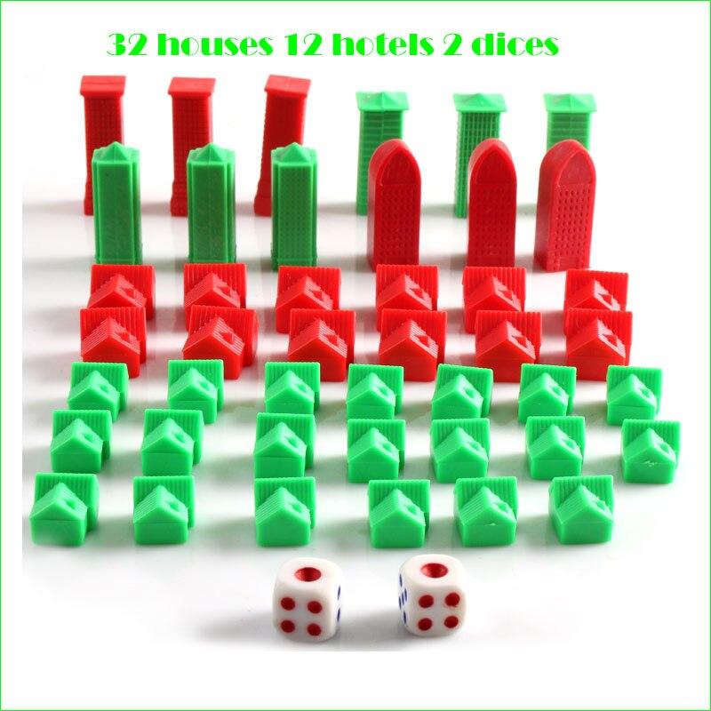 Запасные реквизиты для домов, добавки для настольных игр с 32 домами, 12 отелей, 2 кубика