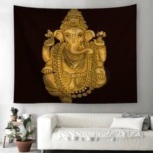 Tribal Elephant mandala Tapestry Animal Boho Golden Printed Wall Hanging Ethnic Indian God Art Carpet Decorative Tapestry 230cm