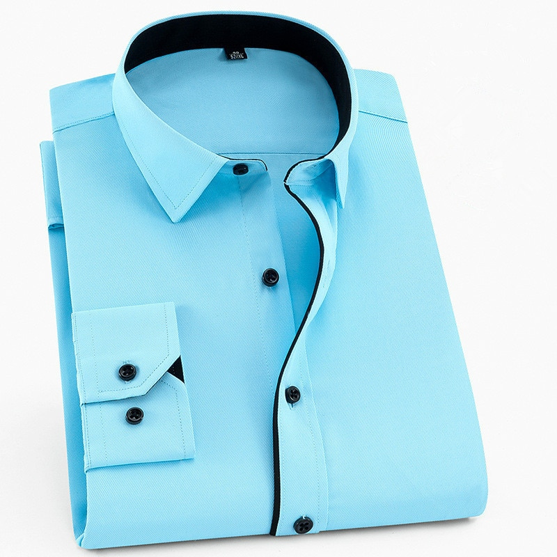 Large Size 6XL 5XL 4XL 3XL Fashion Men's Shirt Brand Leisure Solid Dress Shirts Patchwork Twill Business Social Wedding Shirts