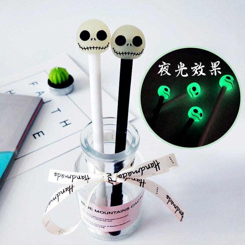 36PCS/lot Luminous Skull Skeleton Gel Pen 0.5mm Black Student Gel Pen Kawaii School Supplies Stationery