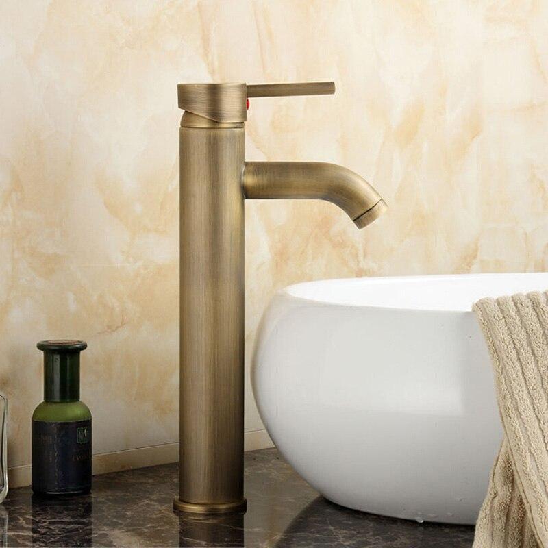 Grifo de baño conciso contemporáneo acabado de bronce antiguo grifo de lavabo de latón grifo de agua de una sola manija GZ8011