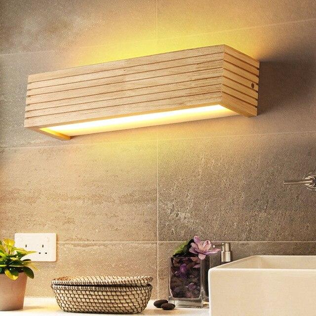 Luces de pared de madera modernas espejo de baño lámpara de pasillo Wandlamp cama luz nórdica iluminación del hogar lámpara de pared vintage