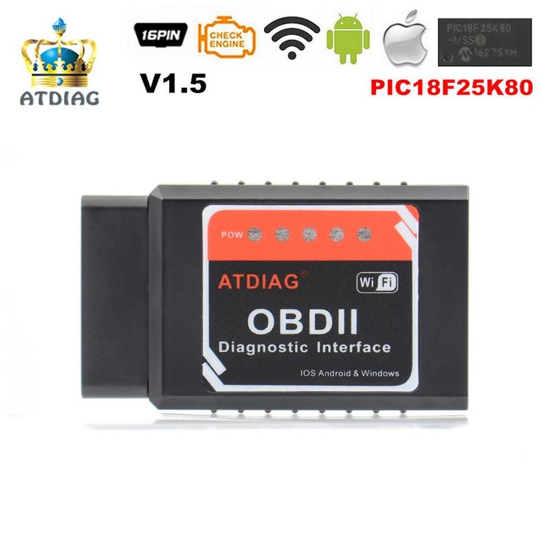 Free Ship 25K80 ATDIAG PIC18F25K80 Super Mini ELM327 V1.5 Wifi OBD2 OBDII Code Reader ELM 327 Bluetooth ELM327 WI-FI Android/IOS