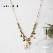 Wild&Free Vintage Long Pendant Necklace Handmade Water Drop Beaded Charm Crystal Pendants Necklaces For Women Bijoux