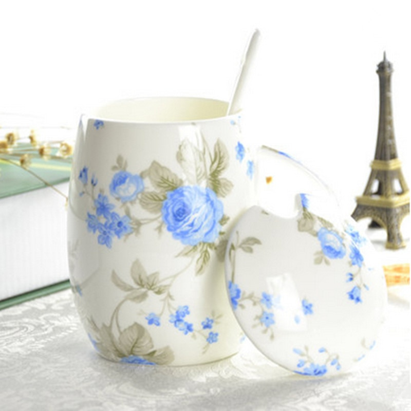 Taza de café de cerámica Taza creativa Taza con tapa y cuchara juego de té de café para regalo de amigo envío gratis