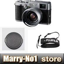 3 in 1 Silber LH-X100 Gegenlichtblende mit Adapter Ring + 58mm objektivdeckel Schutz und umhängeband Für FUJIFILM Fuji Finepix X100 X100S