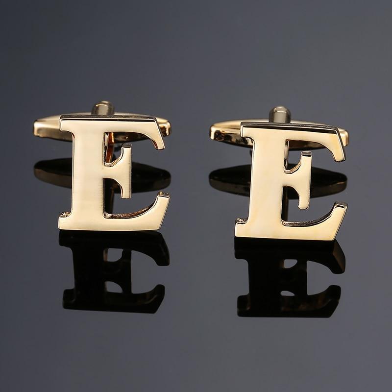 DY new High-quality Brass material English Golden English alphabet E Cufflinks Men's French shirt Cu
