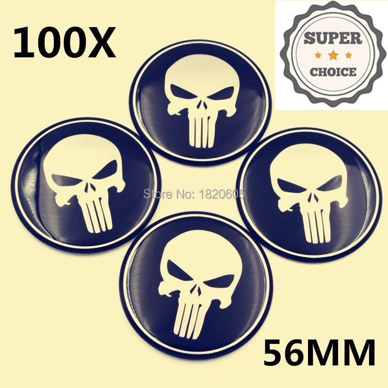 100 piezas 56mm 5,6 cm centro de la rueda gorras negro castigador calavera Logo insignia Metal emblema pegatina para auto