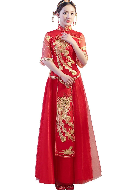 شنغهاي قصة 2018 جديد وصول العروس فستان الزفاف الصينية التقليدية فستان الزفاف شيونغسام Xiuhe اللباس الوطني نمط