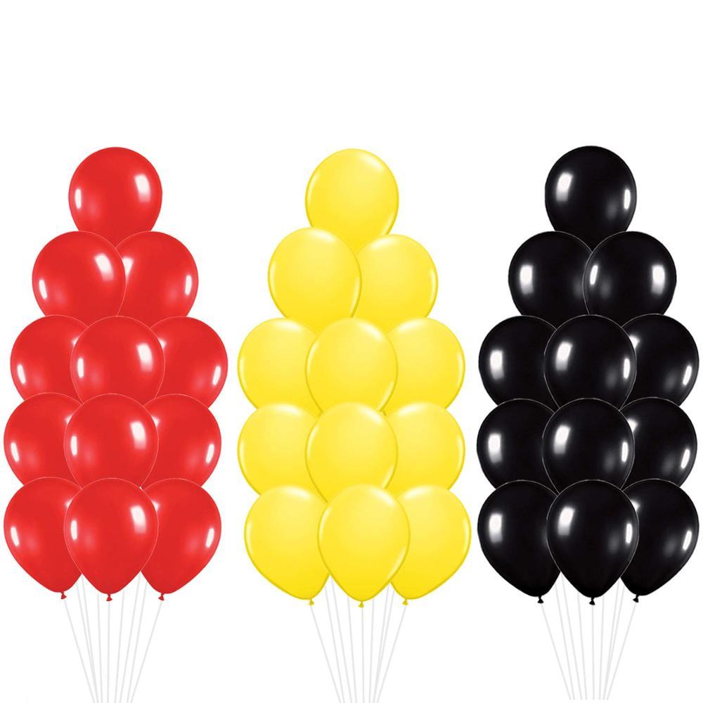 30 шт Микки Маус цвета вечерние воздушные шары набор-красный, желтый, черный латексные шары Детские подарки вечерние украшения товары