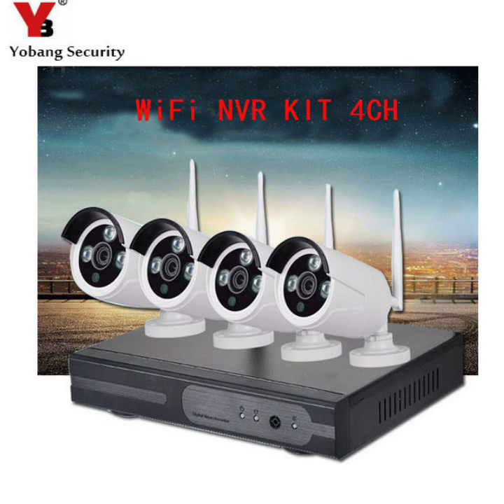 YobangSecurity 4CH Home CCTV sistemas de cámara 720 P NVR grabadora 4x1,0 MP inalámbrico WIFI cámara de seguridad exterior IR LED de la visión nocturna