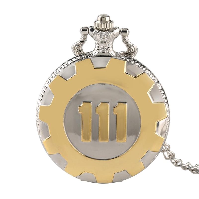 Classic Game Fallout 4 Vault 111 Theme Quartz Pocket Watch Vintage Black Gold Necklace Pendant Gift Fan for Men Women 76