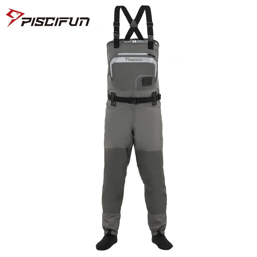 high jump ultra thin 0 34mm siamese fishing waders waterproof 700d nylon pvc breathable chest height pocket belt fishing overall Piscifun Polyester Breathable Waterproof Stocking Foot Fly Fishing Hunting Chest Waders Pant for Men and Women with Phone Case