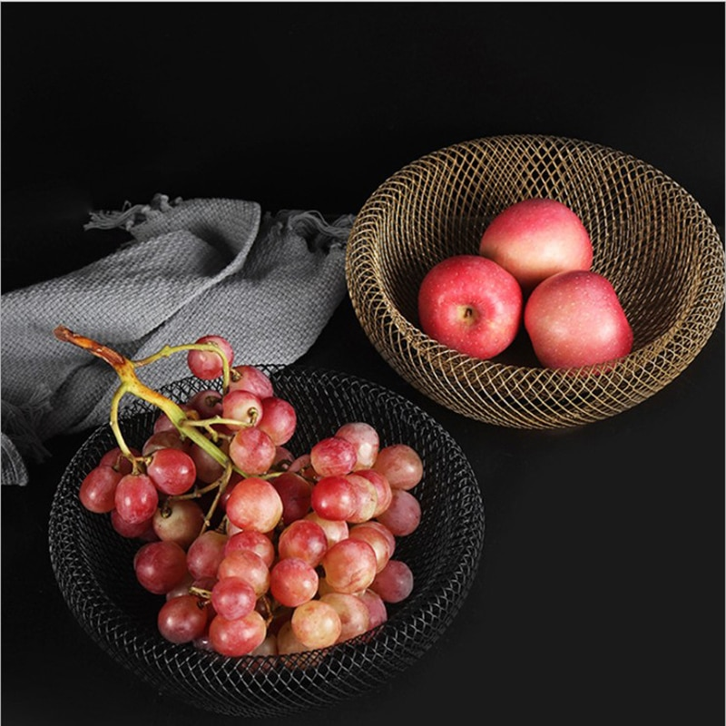 Nordic Metal Tabletop Storage Basket European Minimalist Double-layer Hollow Mesh Storage Basket Fruit Organizer Home Decor