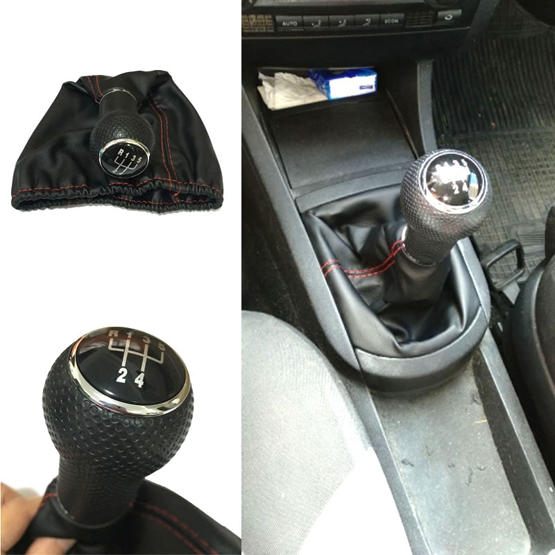 For Seat Ibiza 1996 1997 1998 1999 2000 2001 5 Speed MT Car Gear Knob Lever Stick Shift With PU leather Red Black Stitches