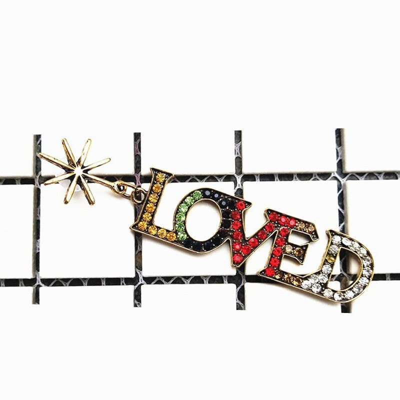 Punk Fashion Pendientes Mujer Moda Jewelry Boys Love Yourself Tear Earrings Brincos Rhinestone Kpop Stainless steel Earrings