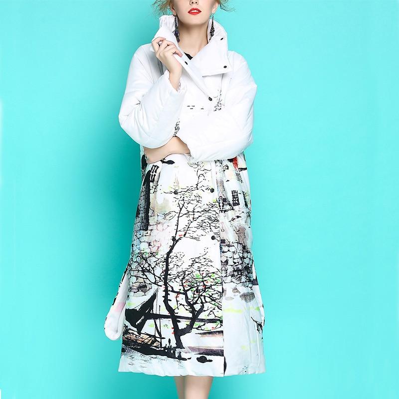 Брендовые новые роскошные женские зимние пуховики, белые хлопковые утепленные свободные парки большого размера с вертикальным воротником ...