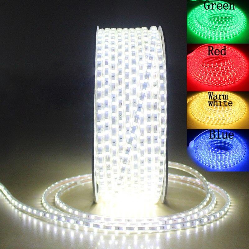 SMD 5050 AC 220V LED Strip Flexible Light 60leds/m ribbon led tape 5050 led strip waterproof 220 V LED Strip 220V 5M 10M 20M 25M