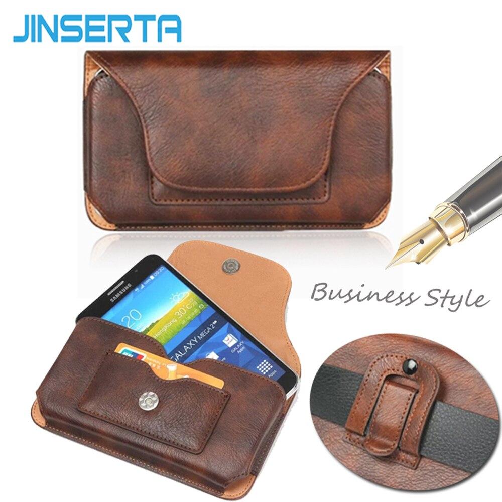 JINSERTA Universal de cuero cinturón Clip funda carcasa de teléfono con bolsa para iPhone 7 7 Plus Vintage ranuras para tarjetas fundas