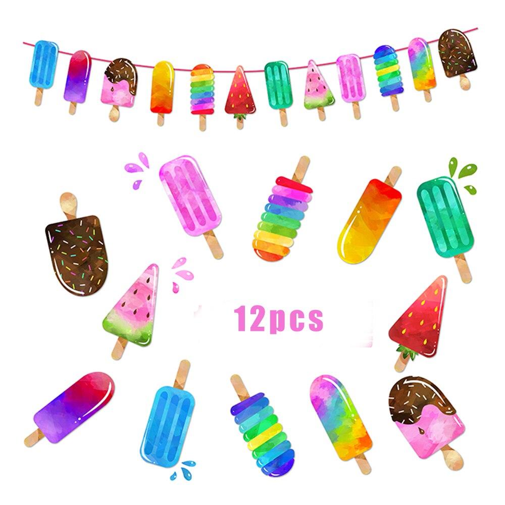 Летние Красочные Бумажные подвесные баннеры для мороженого, баннеры для украшения дня рождения, Гавайские товары для вечеринки