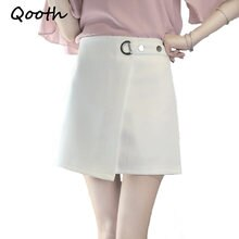 Qooth Preppy Style Mini Skirt With Safe Pants Women Elegant Work Skort 2018 Spring Summer New Brief High Waist Skirt 2XL QH988