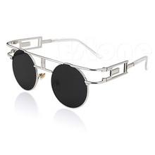 Mens Womens Retro Steampunk Round Metal Frame Mirrored Lens Glasses Sunglasses