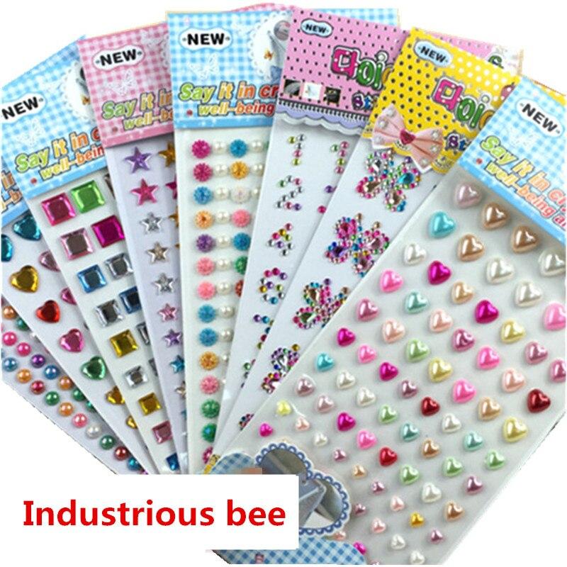 Pegatina para juguetes promocionales baratos para niños, muchos estilos, color mezclado acrílico, diamantes de imitación de cristal, pegatinas de decoración Diy, venta al por mayor