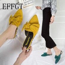 EFFGT femmes diapositives sandales chaussures à talons bas pour femme occasionnels Mules mode plage pantoufle Bow bout pointu daim romain pantoufle A50