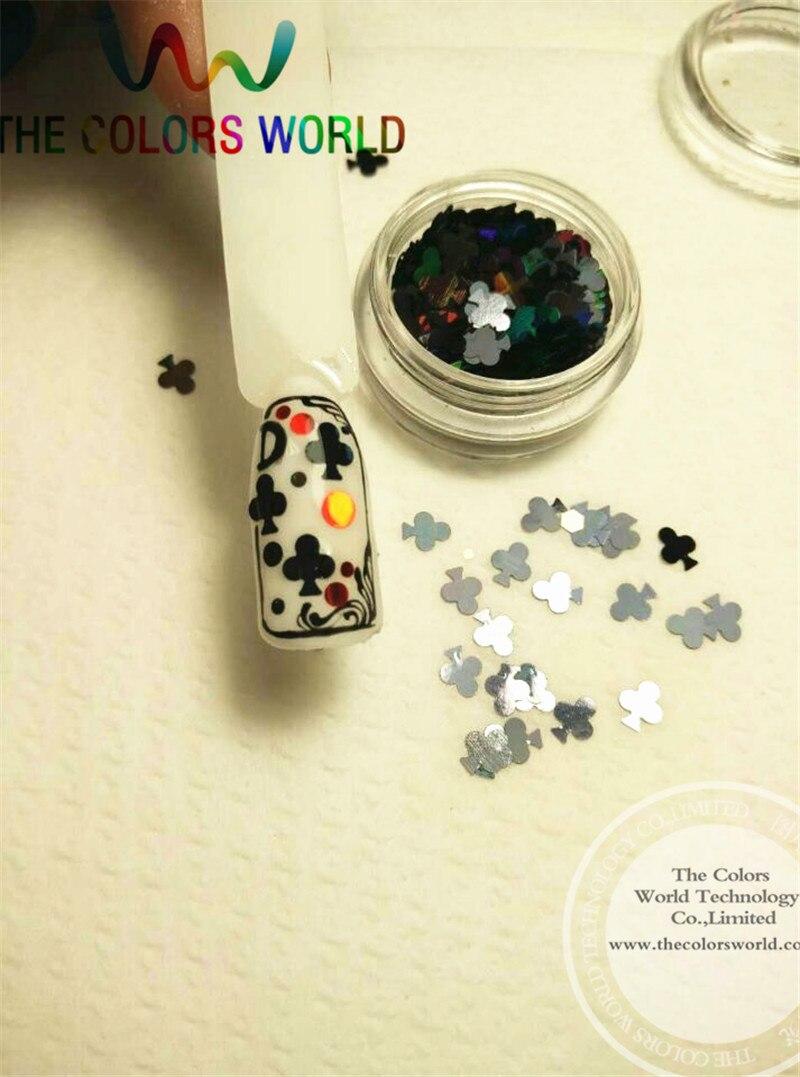 Palos láser de Color negro TCA1000, brillo en polvo de 5MM de tamaño, brillo especular para uñas, tatuajes, decoración de arte y otros