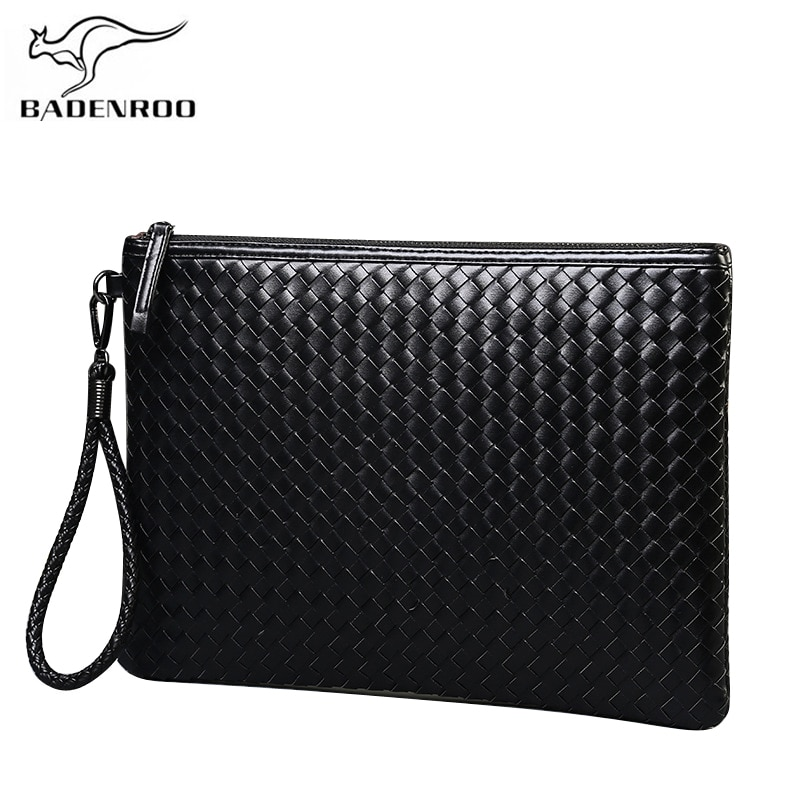 Badenroo Brands Men bag Leather Weave Knitting Clutch Bag Shoulder bag Wallet Handy Bag Handbags Day