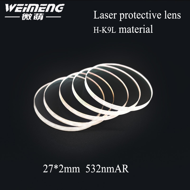 2019 Weimeng gran venta de alta calidad K9 Material 27*2mm 532 nmar Plano lente de película de vidrio protector láser protector para máquina de corte