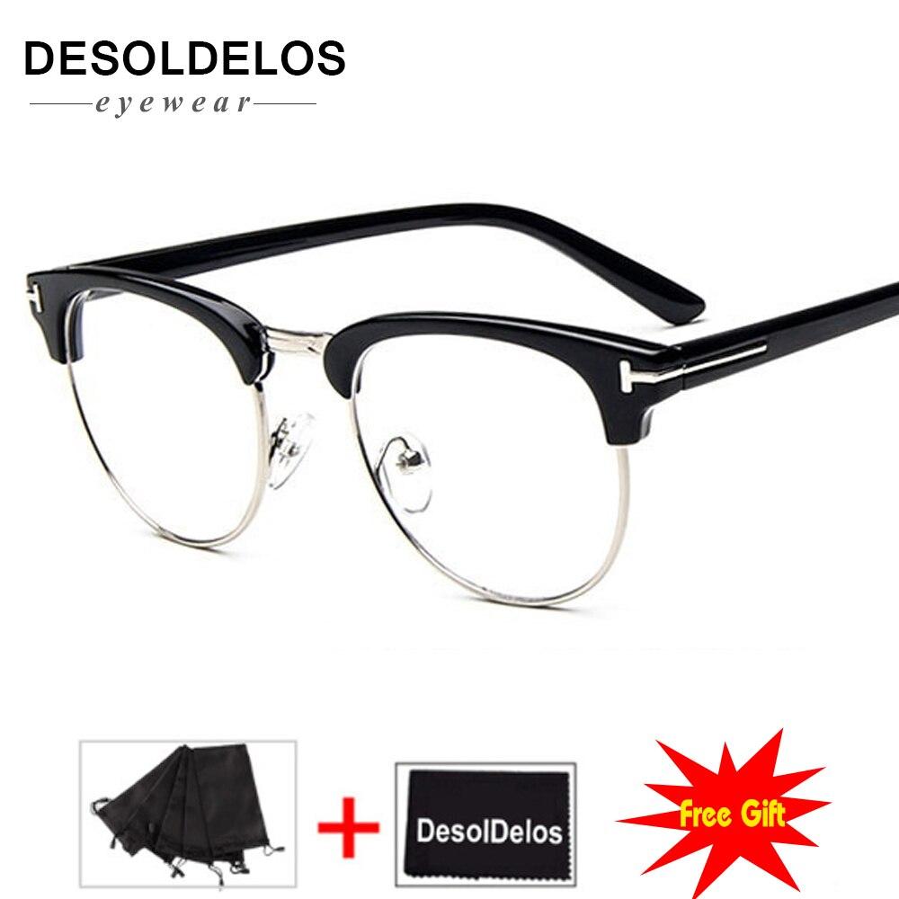 2019 New Half Metal Women Glasses Frame Men Eyeglasses Vintage SquareClear Optical Spectacle spectacles