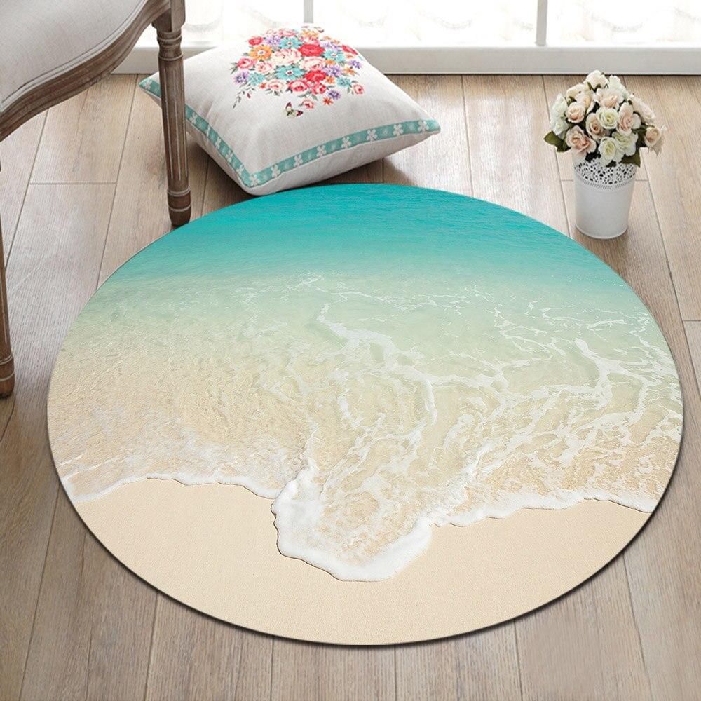LB Beach Seawater Nature Landscape Large Round Carpet for Baby Kids Home Living Room Bedroom Cushion Area Rug Bathroom Floor Mat