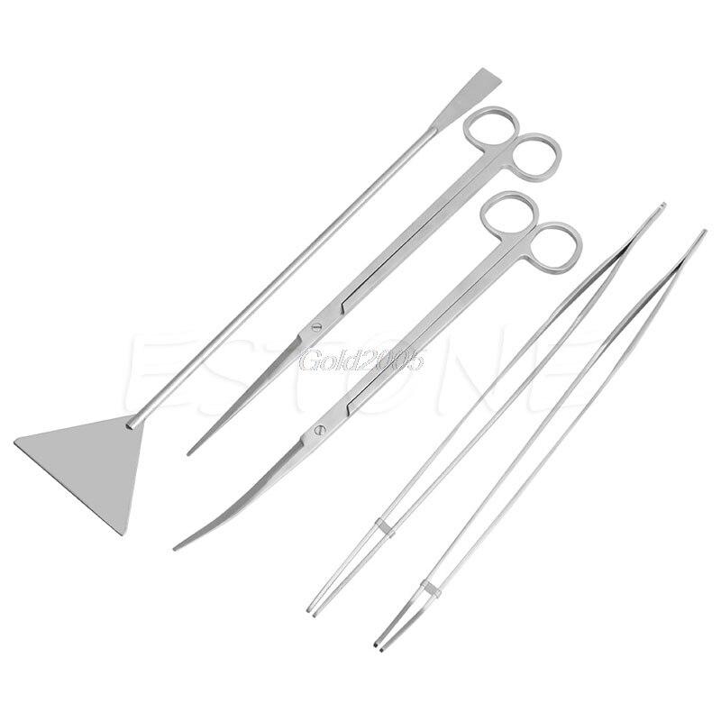 5 uds Kit de herramientas de mantenimiento de acuario pinzas tijeras para plantas vivas hierba G08 venta al por mayor y DropShip