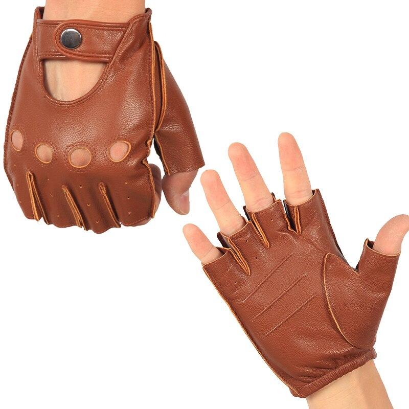 Новейшие мужские кожаные перчатки с полупальцами, весна-лето, тонкие, дышащая, с противоскользящим эффектом; Половина Пальцы Перчатки для ф...