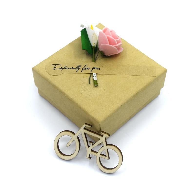 20 piezas 40mm bicicleta de madera recortada chapas DIY artesanía ornamento para boda compromiso temática festiva fiesta 1811302