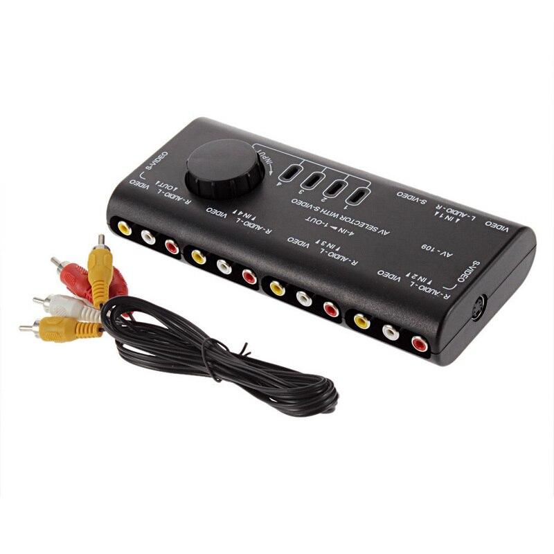 Onsale 1 шт. 4 в 1 выход аудио видео переключатель сигналов Разветвитель переключатель Высокое качество AV RCA переключатель коробка + RCA кабель Mayitr