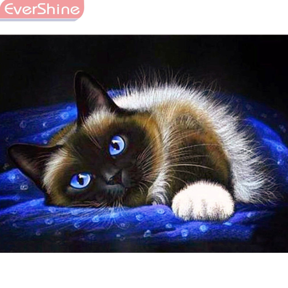 EverShine DIY Diamond Painting Full Square Cat Picture Of Rhinestones Diamond Mosaic Animals Home Decor Diamond Embroidery Sale