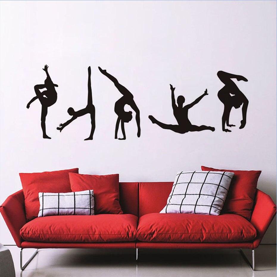 Gymnastiek Pose Moderne Portret Muursticker Voor Woonkamer Gym Sport Deur Home Decor Vinyl Zelfklevende Zwarte Vliegtuig Behang