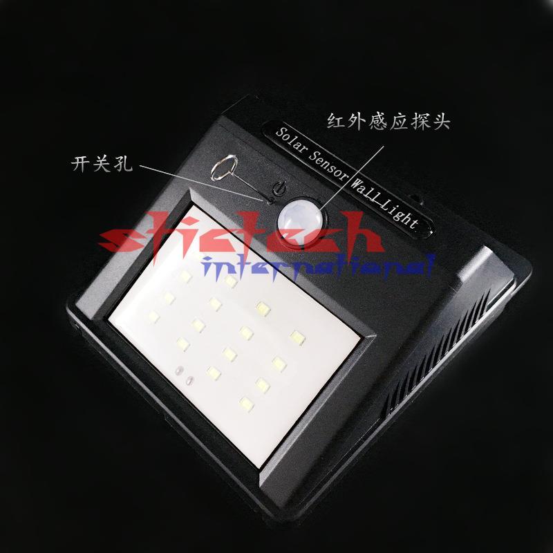 Por dhl o ems 20 piezas práctica lámpara Solar 16 LED PIR Sensor de movimiento humano y Sensor de luz Solar 16 LEDs lámpara de pared de camino de luz