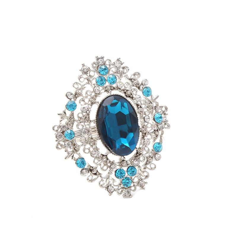8pcs High-grade blue diamond hollow napkin ring hotel restaurant napkin circle napkin buckle Christmas gift series