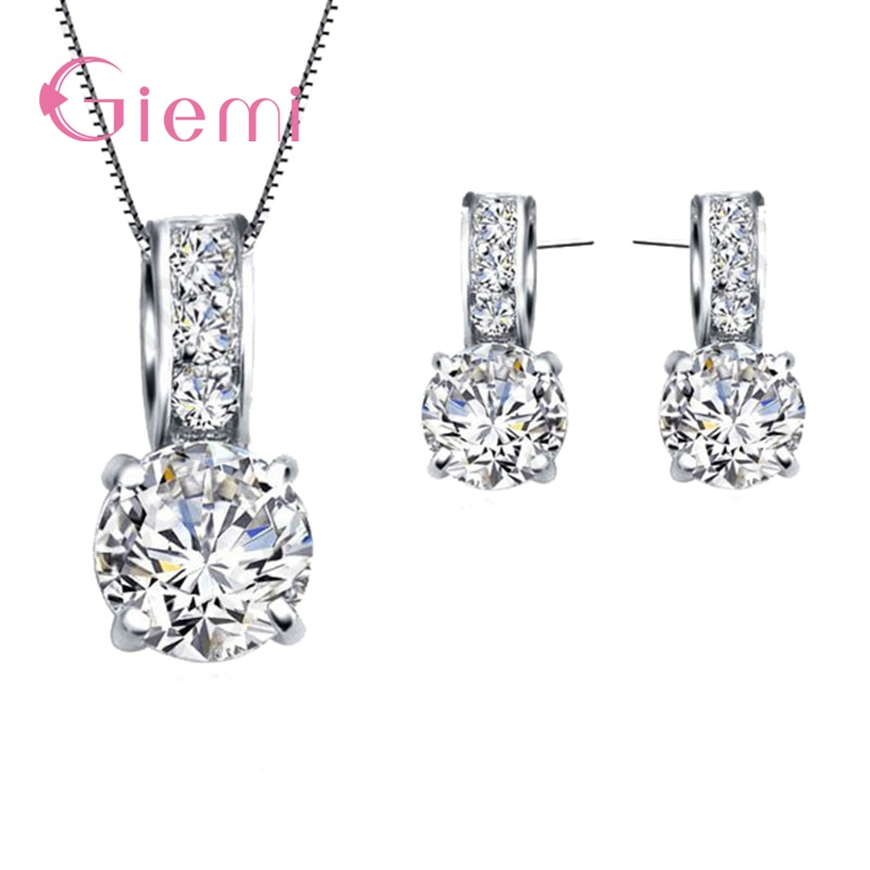 Genuine 925 Sterling Silver Shining Cubic Zircon Pendant Necklace&Stud Earring For Women Wedding Jewelry Sets Wholesale