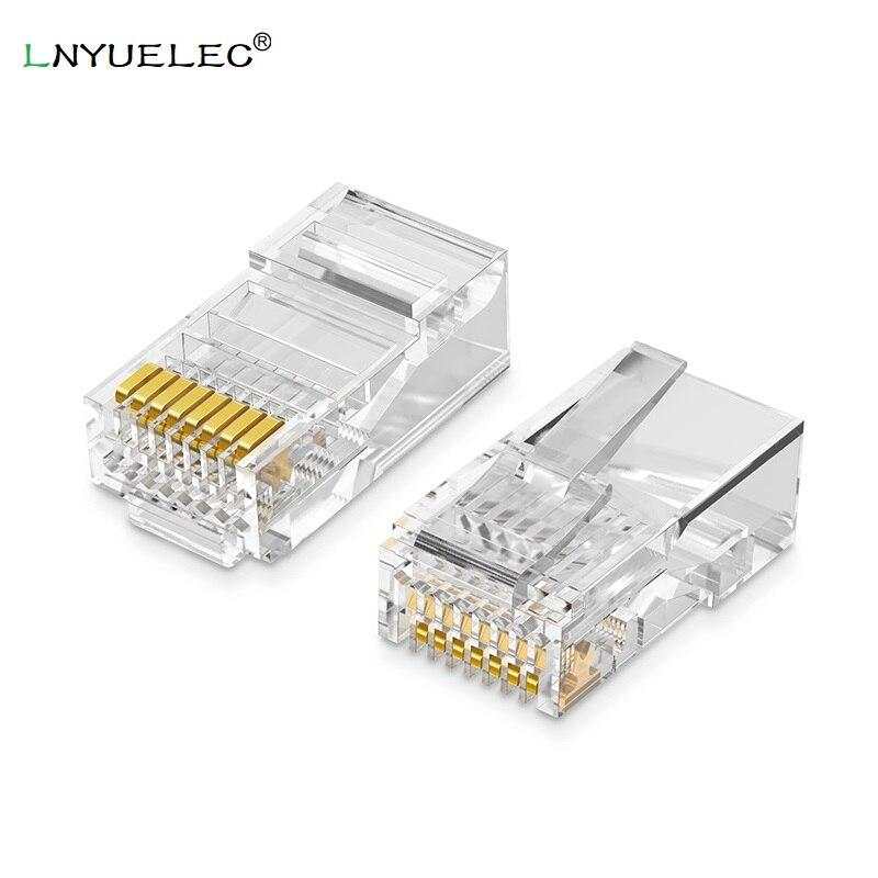 LNYUELEC-conector Modular Cat5 RJ45 Cat5E 8P8C, conector Ethernet, engarce, chapado en oro,...