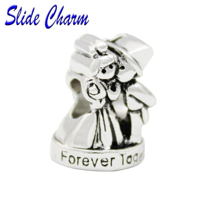 Slide charm free shipping European Wedding Love Charm Alloy Bead Charm fit Pandora Bracelet and Bracelet Pendant DIY jewelry